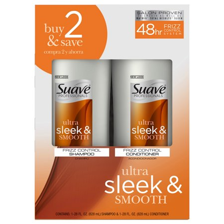 Suave Professionals Smooth and Sleek Anti Frizz Shampoo and Conditioner for Dry Hair, 28 oz, 2 (Best Suave Shampoo And Conditioner Sets)
