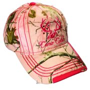 Camo Cutie Cap Womens Realtree Pink Camo Cap with Hot Pink Trim and logo