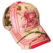 Camo Cutie Cap Womens Realtree Pink Camo Cap with Hot Pink Trim and logo 15eb76b2ed91