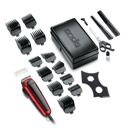 Andis EasyCut Home Haircutting Kit, Black, 20 Piece Kit with Bonus The Cut