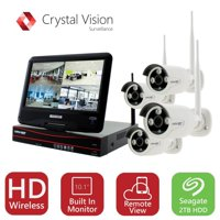 Crystal Vision True HD Wireless Security Camera System 2TB Hard Drive All-in-One NVR CCTV with Built-in Monitor, Router, Camera Auto Pair, Night Vision - CVT9604E-3010W