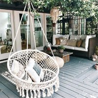 Hanging Hammock Mesh Woven Rope Macrame Wooden Bar Chair Swing Outdoor Home Garden Patio Chair Seat + Install Tool Home Decor Gift