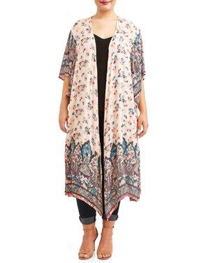 Women's Plus Size Flutter Sleeve Kimono