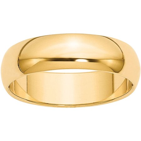 14k 6mm Half-Round Wedding Band 14k Gold Womens Wedding Band 6mm
