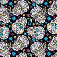David Textiles Anti-pill Fleece Precut Fabric Folkloric Skulls 1.5 Yds X 60 Inches