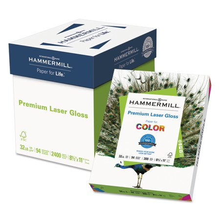 Hammermill Premium Laser Gloss Paper, 94 Bright, 32lb, 8-1/2 x 11, White, 300 Sheets/Pack (100 Semi Gloss Photo Paper)
