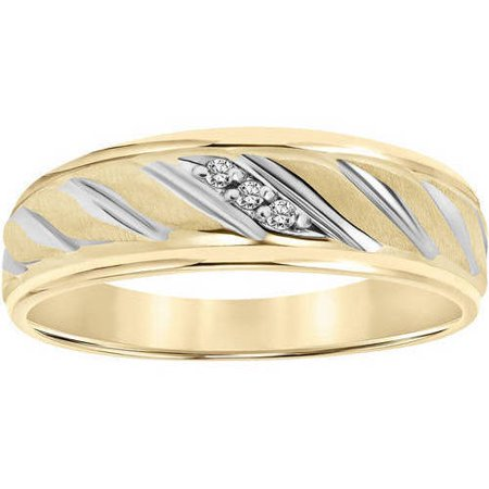 Keepsake Diamond Accent Rope Design 10kt Yellow Gold Wedding Band (Diamond Harmony White Gold Bands)