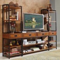 Home Styles Modern Craftsman Distressed Oak 3-Piece Entertainment Center