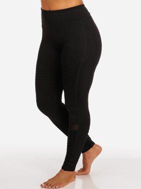 Womens Juniors Activewear Black Moto Design Sheer Mesh High Rise Leggings 41313P