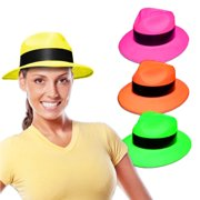 Novelty Place  Party Stars  Neon Color Gangster Fedora Plastic Party Hats  for Kids Teens 99fa3c6e4e49