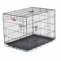 """30""""L Lucky Dog Folding Black Wire 2 Door Training Crate"""