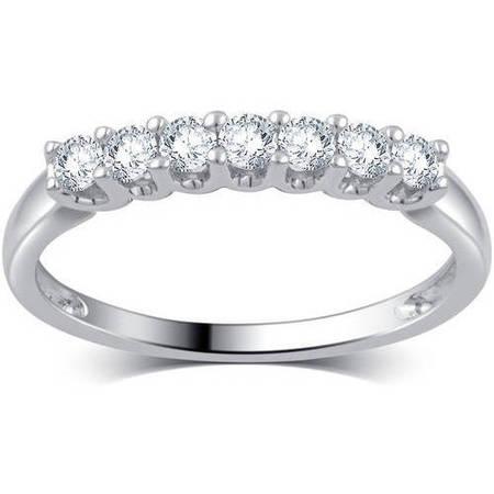 1/4 Carat T.W. Diamond 10kt White Gold 7-Stone Wedding Band, I-J/I2-I3