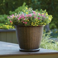 """Better Homes and Gardens 18"""" Faux Wicker Planter, Brown"""