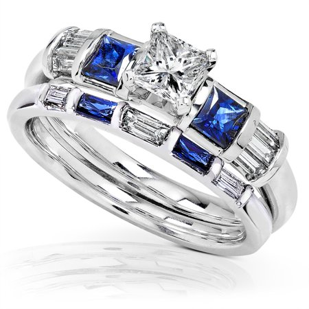 Diamond & Sapphire Wedding Ring - Blue Sapphire & Diamond Wedding Rings Set 1 Carat (ctw) In 14k White Gold