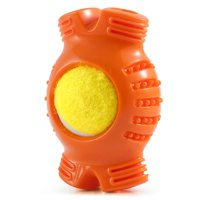 Pet Toys for Dogs by Fluffy Paws Pet Tennis Ball Squeaky Dog Toy with Textured Fat Bone Squeaky Rubber Clean Teeth Massage Gums Pet Toy IQ Training Playing and Chewing - Orange