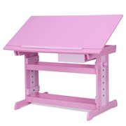 Gymax Adjustable Wooden Drafting Table Art & Craft Drawing Desk Hobby w/ Drawer Pink