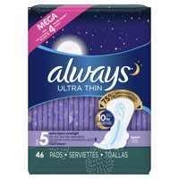 Always Ultra Thin, Size 5, Extra Heavy Overnight Pads With Wings, Unscented 46 Count
