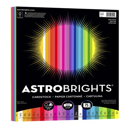 - Astrobrights Colored Cardstock, 8.5 x 11, 65 lb., Spectrum Assort., 75 Shts