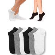 51b85f344 6 Pair Women Ankle Socks Low Cut Fit Crew Size 9-11 Sport Black White