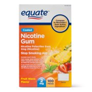 Equate Coated Nicotine Gum, Fruit Wave Flavor, 2 mg, 100 Count