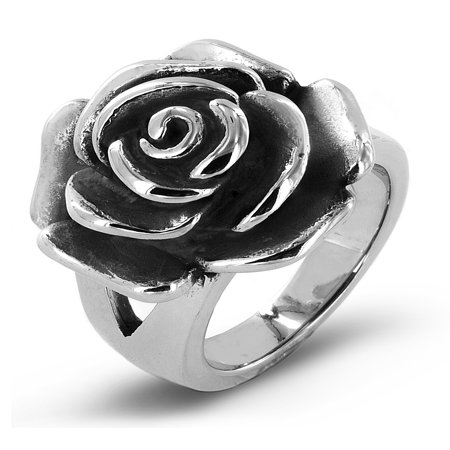 Antiqued Stainless Steel Blooming Rose Cocktail Ring -