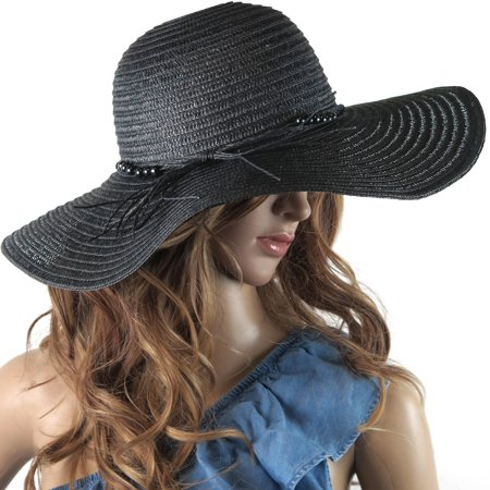 DEBRA WEITZNER Beach Straw Floppy Hat For Women Wide Brim - Sun Protection - Packable Foldable Summer Sun hat For Ladies - Black