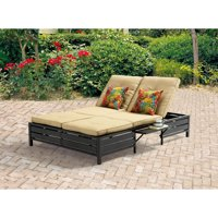 Mainstays Outdoor Double Chaise Lounger, Tan, Seats 2