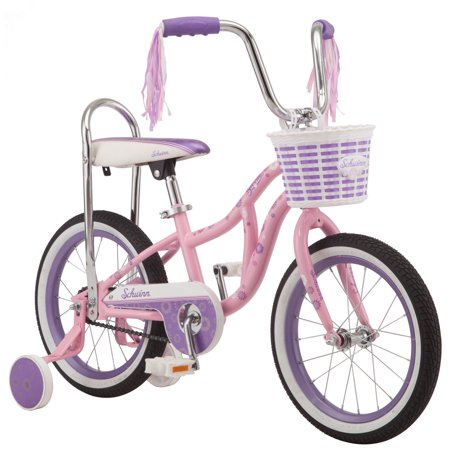 - Schwinn Bloom kids bike, 16-inch wheel, training wheels, girls, pink, banana seat (no fenders)