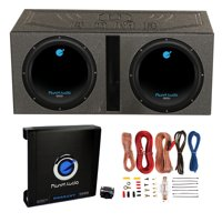 "2) Planet Audio 12"" 1800W Subwoofers + Vented Lined Box Enclosure + Amp + Wire"