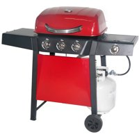 RevoAce 3-Burner Gas Grill with Side Burner, Red Sedona
