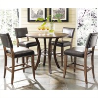 Hillsdale Furniture Cameron 5-Piece Counter Height Round Wood Dining Set with Parson Stool