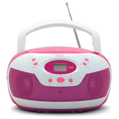 Tyler Portable Neon Pink Stereo CD Player with AM/FM Radio and Aux \u0026 Headphone Players