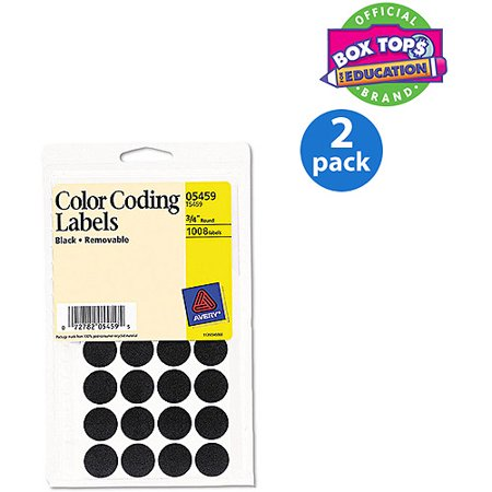 "(2 Pack) Avery Handwrite Only Removable Round Color-Coding Labels, 3/4"" dia, Black, 1008/Pack"