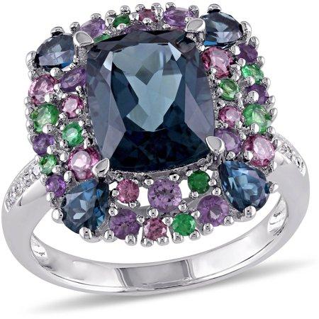 5-4/5 Carat T.G.W. London Blue Topaz, Rhodolite, Amethyst and Tsavorite with Diamond-Accent Sterling Silver Cocktail (Kunzite Rhodolite Ring)