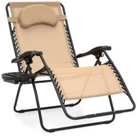 Best Choice Products Oversized Zero Gravity Outdoor Reclining Lounge Patio Chair w/ Cup Holder - Tan
