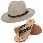 cb2b184ff4e6b9 Coral Jones Women s Floppy Straw Hat and Foam Flip Flop Sandals Set US  Women s Shoe Sizes