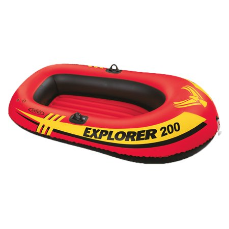 Intex Explorer 200 Inflatable 2 Person River Boat Raft Set with 2 Oars & Pump - Inflatable Boat Kit
