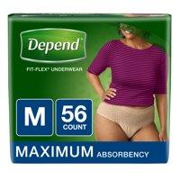 Depend FIT-FLEX Incontinence Underwear for Women, Maximum Absorbency, M, Tan 56 ct