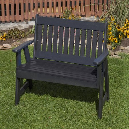 Mission Patio - Outdoor Patio Garden Lawn Exterior Black Finish 4Ft- Lumber Mission Porch Bench Heavy Duty Everlasting -Amish Crafted