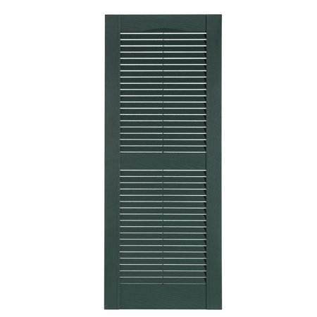 "Premier One-Piece #331 Heritage Green Louver Decorative Exterior Shutters, 15"" x 43"", 1-Pair"