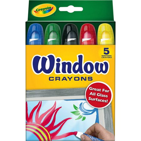 Crayola Washable Window Crayons, 5 Count, Red,Blue,Black,Green,Yellow](Sky Blue Crayola)
