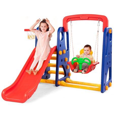 Goplus 3 in 1 Junior Children Climber Slide Swing Seat Basketball Hoop Playset - Slime Basketball