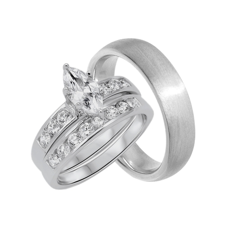 Marquis Band Ring (His and Hers Wedding Ring Set Marquise Wedding Bands for Him and Her (5/7))