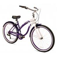 Oakwood Womens 26-Inch White Wall Tire Beach Cruiser Bike w/ 7-Speed Gear Shift
