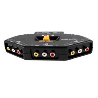 3 Way Audio Video AV RCA Composite Switch Selector Box Splitter For XBOX XBOX360 DVD PS2 PS3 - Black