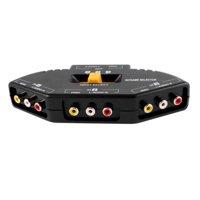 3 Way Audio Video AV RCA Composite Switch Selector Box Splitter For XBOX XBOX360 DVD PS2 PS3 - Black
