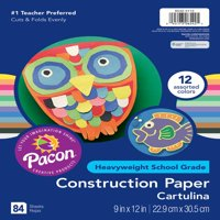 "Pacon Construction Paper, 12 Assorted Colors, 9"" x 12"", 84 Sheets"