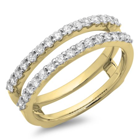 18k Yellow Gold Enhancer (Dazzlingrock Collection 0.50 Carat (ctw) 18K Round Diamond Wedding Enhancer Guard Double Band 1/2 CT, Yellow Gold, Size)