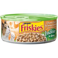 Friskies Indoor Chunky Chicken & Turkey Casserole with Garden Greens Wet Cat Food in Gravy, 5.5 Oz. Cans (24 Pack)