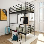 Mainstays Convertible Metal Bunk Bed with Bonus Mattress, Twin-over-Twin, Multiple Colors